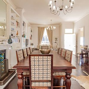Dining area with fire place; SELBOURNE - Sea Point