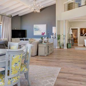 Living area with round table; CABANA BAY - Llandudno
