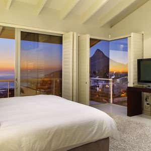 Master bedroom & view; FALCON VIEWS - Camps Bay